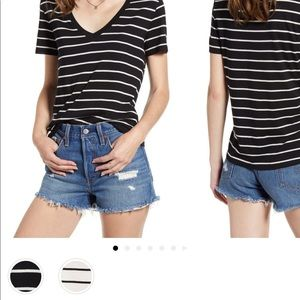 BP Nordstrom Striped T Shirt Tee Top Medium Crop